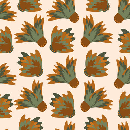 Wild meadowflower blossom seamless vecor pattern background. Ochre and sage green painterly floral mix on beige backdrop. Hand drawn petals modern botanical design. Repeat for wellness