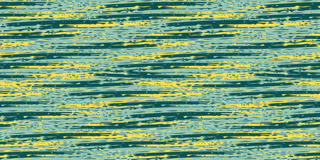 Abstract painterly flame stitch vector seamless border background. Banner with malachite green and yellow blended irregular stripes. Layered ink paint effect. Texture weave for ribbon, edging, trim 矢量图像
