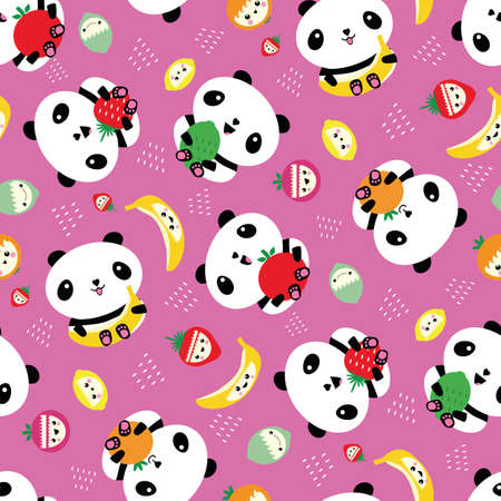 Kawaii panda and fruit seamless vector pattern background. Pink backdrop with cartoon bears holding apples, bananas, strawberries, oranges. Laughing animals. Healthy eating concept for kids