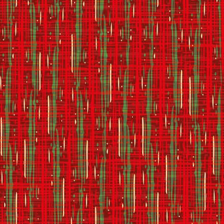 Plaid linen weave seamless vector pattern background. Densely woven style red green backdrop. Tartan cloth weave repeat design. Modern cotton fibre material all over print for festive Christmas theme