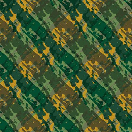 Vector wicker weave dense seamless pattern background. Painterly brush stroke effect criss cross backdrop. Diagoal woven basket style ochre sage green geometric grid design. Repeat rattan texture.