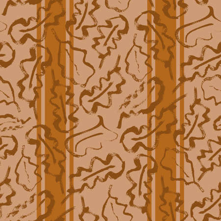 Oak leaf striped seamless vector pattern background. Simple calligraphy brush foliage on vertical stripe backdrop. Monochrome terracotta ochre color. Botanical design. Painterly repeat for wellness.