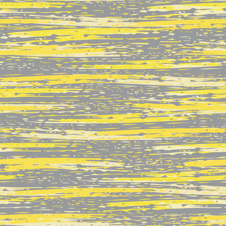 Abstract striped painterly vector seamless pattern background. Backdrop with blended irregular horizontal paint stripes in grey yellow. Layered ink paint effect. Modern texture all over print.