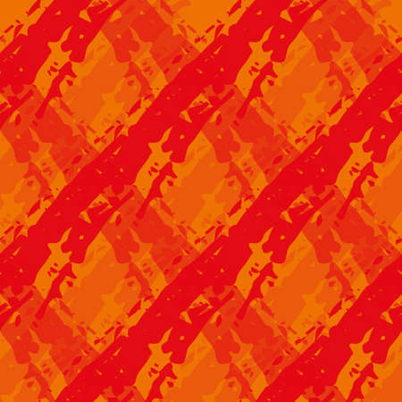 Vector diamond flame effect seamless pattern background. Painterly brush stroke effect criss cross backdrop. Red orange diagonal woven style geometric grid design. Duotone texture for hot summer.