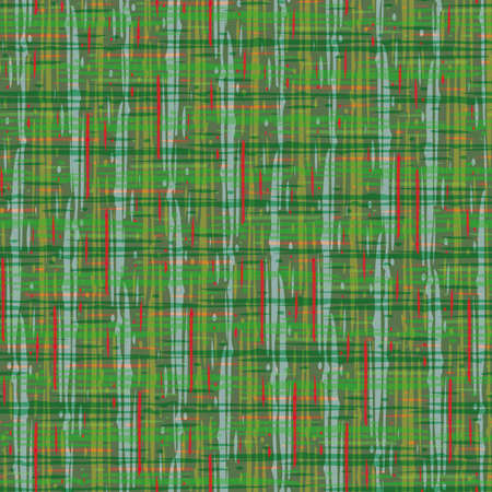 Plaid linen weave seamless vector pattern background. Densely woven style green backdrop. Tartan cloth weave repeat design. Modern cotton fibre material all over print for festive Christmas theme