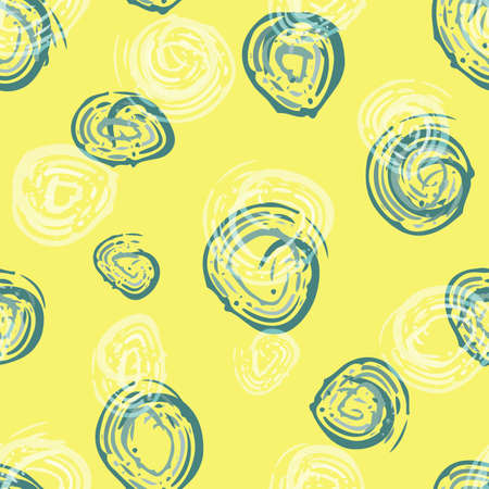 Scribbled painterly circle vector seamless pattern background. Hand drawn brush stroke blue white circles on yellow backdrop. Modern abstract blended repeat for summer, sport, leisure