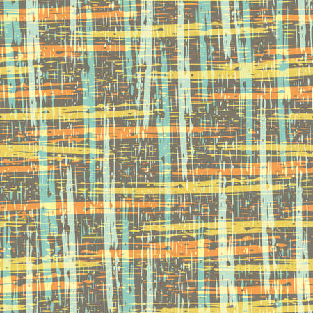 Abstract canvas textured vector seamless pattern background. Chalky brown, yellow, orange backdrop with painterly etched stripes and coarse fibres. Blended weave effect. Burlap cotton woven repeat. 矢量图像