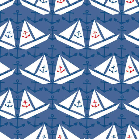 Stencil style vector white sailing boats Seamless pattern on navy blue background with subtle anchor shapes.Water transport hand drawn yacht design. Repeat for marine, nautical, ocean concept 矢量图像