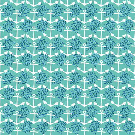 Vector cute anchor and wave abstract seamless pattern background. Aqua blue backdrop with white anchors, navy blue waves. Dense geometric nautical design. Repeat for marine, summer vacation concept. 矢量图像