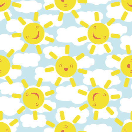 Cute smiling laughing sun kawaii seamless vector pattern background. Cartoon weather icons on cloud textured blue white backdrop. Fun sky repeat for travel, kids fashion, baby shower, summer concept.