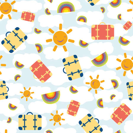 Cute vector travel seamless pattern background with kawaii sun, suitcases, rainbows. Fun repeat with colorful vacation icons on cloud textured backdrop. For summer, kids, holiday, leisure concept
