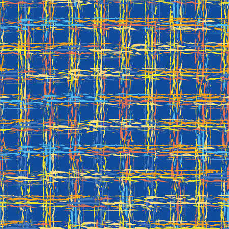 Abstract vector basket weave modern seamless pattern background. Cobalt blue orange yellow burlap grid backdrop with overlapping painterly brush stroke lines. Loose fibre interlace effect plaid repeat
