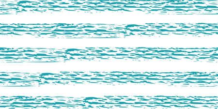 Linear geometric stripe seamless vector border background. Coarse painterly brush stroke striped aqua blue white banner. Bright painted parallel horizontal stripes. For ribbon, header, edging, trim