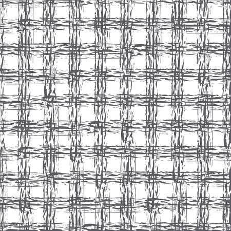 Abstract vector basket weave modern seamless pattern background. Monchrome black white burlap grid backdrop with overlapping painterly broken lines. Loose fibre interlace effect plaid grunge repeat