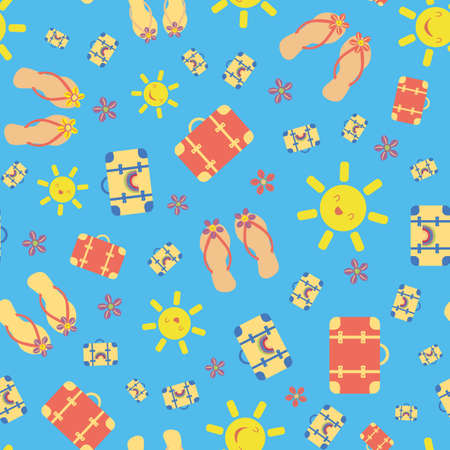 Cute vector travel seamless pattern background with kawaii sun, suitcases, flip flops, sea shells. Fun repeat with colorful vacation icons on blue backdrop. For summer, beach holiday, leisure concept
