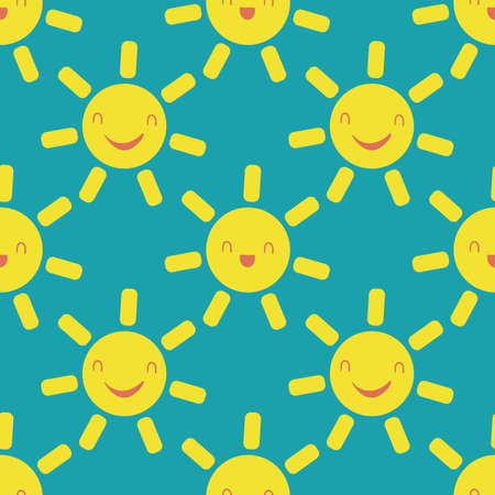 Cute vector smiling laughing kawaii suns. Seamless pattern background. Cartoon yellow weather icons on aqua blue wbackdrop. Fun sky repeat for travel, kids fashion, baby shower, summer concept.