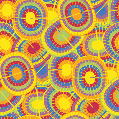 1970s style rainbow seamless vector pattern background. Backdrop with mosaic style oval pairs of rainbows in psychedelic colors. Funky overlapping texture repeat in boho hippie style. Hipster print