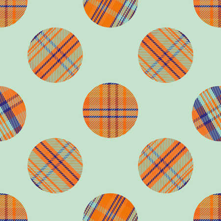 Woven tartan circles seamless vector pattern background. Neon tropical color plaid circle shapes backdrop. Geometric faux woven fabric modern check circular patches. Vivid repeat for summer concept