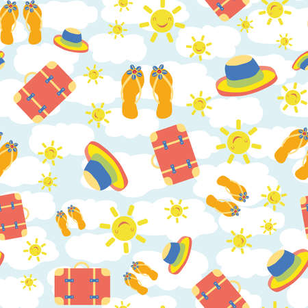 Cute vector travel seamless pattern background with kawaii sun, suitcases, flip flops, hats Fun repeat with colorful vacation icons on cloud textured backdrop. For summer, kids, holiday, leisure. 矢量图像