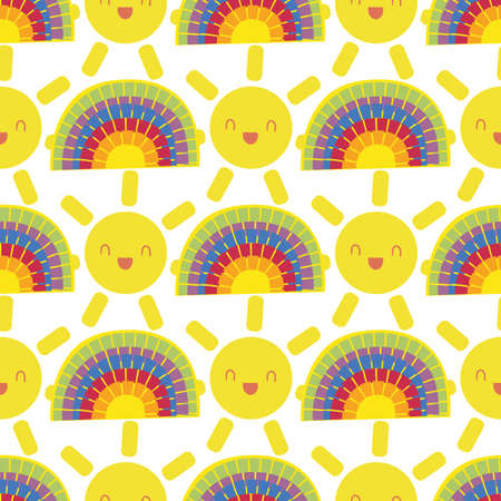 Cute vector smiling laughing kawaii suns and mosaic rainbow seamless pattern background. Backdrop with cartoon yellow weather icons and rainbows. Geometric fun repeat for kids fashion, baby shower.