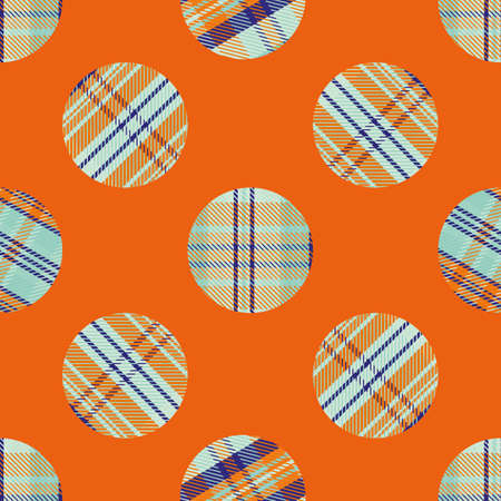 Woven tartan circles seamless vector pattern background. Neon tropical color plaid circle shapes backdrop. Geometric faux woven fabric modern check dots in orange, indigo, blue.. Summer concept