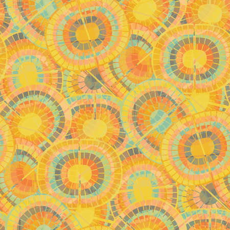 1970s style rainbow seamless vector pattern background. Backdrop with mosaic style oval pairs of rainbows in monochrome orange. Funky overlapping texture repeat in boho hippie style for summer