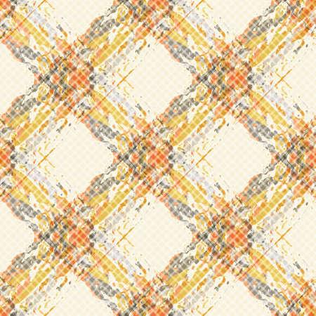 Vector watercolor effect wicker weave seamless pattern background. Painterly criss cross backdrop. Woven spacious diagonal geometric grid repeat design. Lattice rattan fibre texture all over print 矢量图像