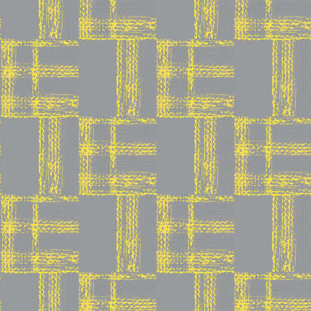 Abstract vector gauze brush effect rectangles seamless pattern background. Grid offset block backdrop of yellow grey coarse painterly squares with spliced edges.Textured fibre weave shapes repeat
