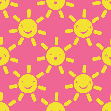 Cute vector smiling laughing kawaii sun seamless pattern background. Cartoon yellow weather icons on pink backdrop. Fun sky repeat for travel, kids fashion, baby shower, summer concept.