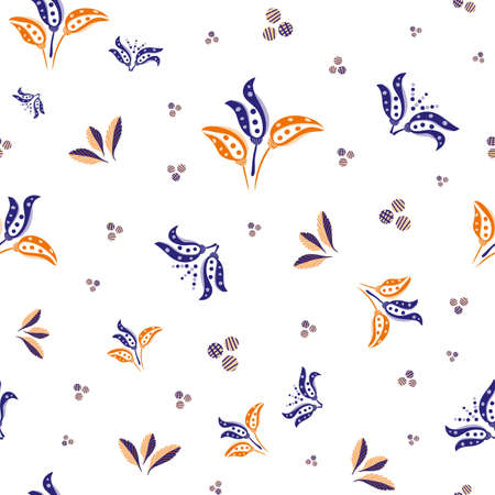 Abstract stylized tulip and leaf vector seamless pattern background. Modern purple white backdrop with bouquets of hand drawn pairs of tulips,foliage, dots circles. Summer garden floral design repeat