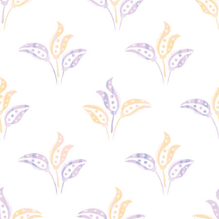 Abstract stylized tulip vector seamless pattern background. Pastel purple white bouquets of hand drawn blossoming tulips on subtle painted texture blend. Floral design repeat for wellness packaging.
