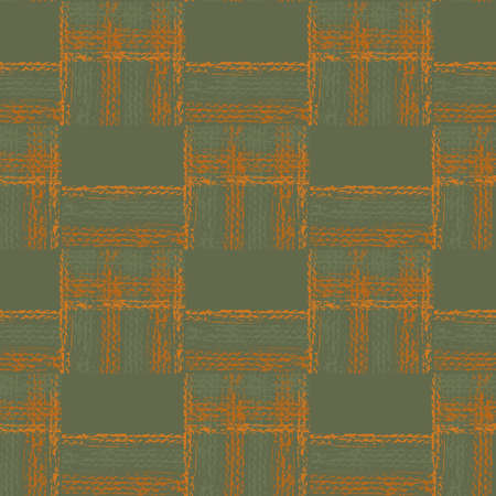 Abstract vector gauze brush effect rectangles seamless pattern background. Grid offset block backdrop of sage green ochre coarse painterly squares with spliced edges.Textured fibre weave shapes repeat