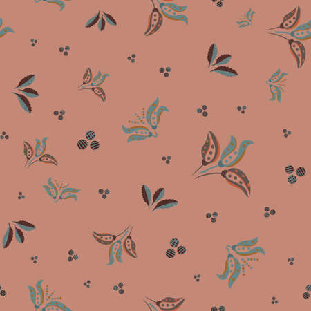 Abstract stylized tulip and leaf vector seamless pattern background. Modern dark pink teal backdrop with bouquets of hand drawn pairs of tulips,foliage, dots circles. Garden floral design repeat 矢量图像