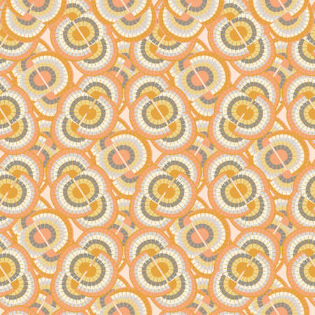 1970s style rainbow seamless vector pattern background. Backdrop with mosaic style oval pairs of rainbows in duotone orange blue. Fun overlapping texture repeat in boho hippie style for summer concept