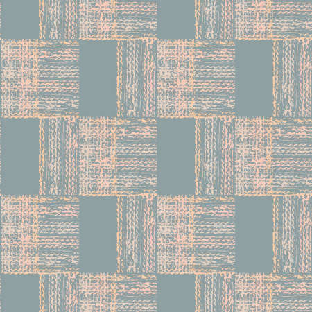 Abstract vector gauze brush effect rectangles seamless pattern background. Grid offset block backdrop of pink blue coarse painterly squares with spliced edges.Textured fibre weave shapes repeat 矢量图像