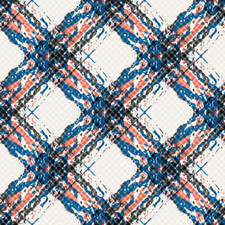 Vector watercolor effect wicker weave canvas seamless pattern background. Painterly criss cross backdrop. Woven diagonal geometric grid nautical color repeat. Lattice fibre texture all over print.