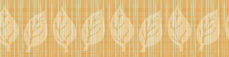 Burlap texture ribbon with blended leaves vector seamless border. Canvas textured banner with foliage. Orange neutral plaid painterly blended watercolor effect. Weave style for edging, trim, packaging