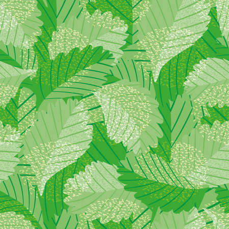 Painterly green vector leaves seamless pattern background. Jungle style backdrop with overlapping varied foliage in monochrome green. Botanical nature texture repeat for summer, wellness, packaging