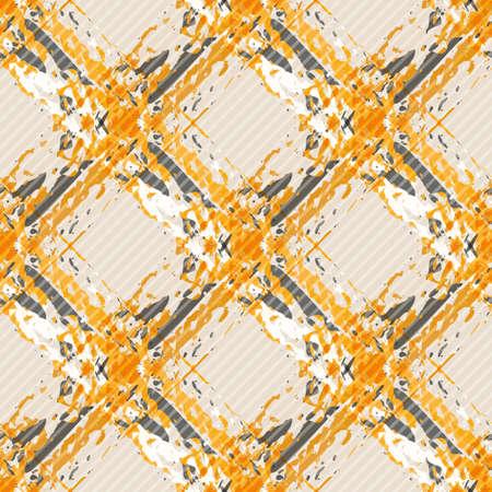 Vector watercolor effect wicker weave canvas seamless pattern background. Painterly criss cross backdrop. Woven retro color diagonal geometric grid repeat design. Lattice fibre texture all over print 矢量图像