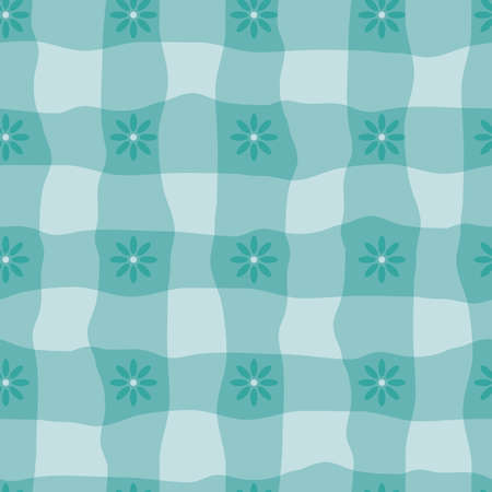 Watercolor effect gingham and flower vector seamless pattern background. Organic floral and irregular stripes painterly grid plaid backdrop. Aqua blue checked crinkle faux cloth repeat for packaging