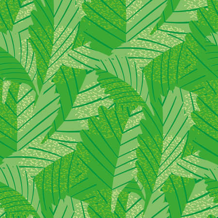 Lino print style rich green stylised vector leaves seamless pattern background. Texture backdrop with overlapping foliage and visible linear leaf veins. Textured botanical design. Monochrome repeat.