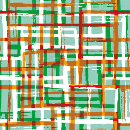 Abstract painted mid-century modern vector seamless pattern background. Green red terracotta white grid backdrop with blended layers of painterly brush stroke stripes. Weave effect texture repeat.