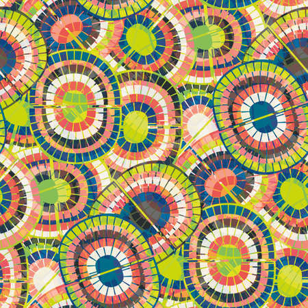 1970s style rainbow seamless vector pattern background. Backdrop with mosaic style oval pairs of rainbows blue, green red colors. Funky overlapping texture repeat in boho hippie style. Hipster print