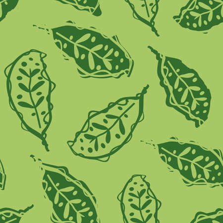 Calathea leaf vector seamless pattern background. Stylised linocut effect green tropical foliage backdrop. Scattered decorative botanical leaves design. Painterly hand drawn floral jungle repeat.