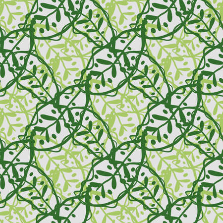 Abstract Calathea leaf vector seamless pattern background. Stylised linocut effect green tropical foliage backdrop. Diagonal weave grid botanical leaves design. Painterly woven floral jungle repeat. 矢量图像