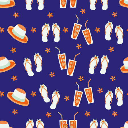Vector travel fun seamless pattern background with flip flops, hats, shells, drinks glasses, sun. Tropical neon repeat with colorful vacation icons on indigo backdrop.For summer, beach holiday concept 矢量图像