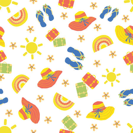 Cute vector travel seamless pattern background withsun, suitcases, kawaii flip flops, sea shells. Fun repeat with colorful vacation icons on white backdrop. For summer, beach holiday, leisure concept