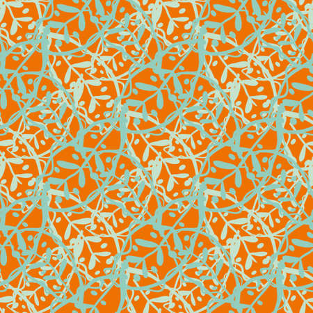 Abstract Calathea leaf vector seamless pattern background. Stylised linocut effect orange aqua blue tropical foliage backdrop. Diagonal weave grid botanical leaves. Woven floral jungle texture repeat. 矢量图像