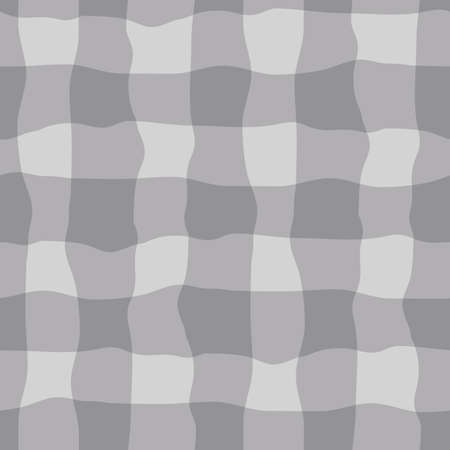 Vector watercolor effect gingham seamless pattern background. Organic irregular stripes painterly grid plaid backdrop. Monochrome grey checked design. Crinkle faux cloth repeat for packaging, wellness 矢量图像