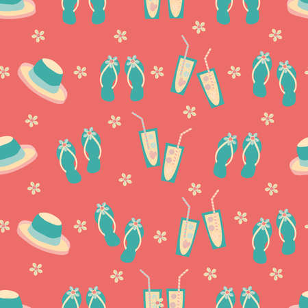 Vector travel fun seamless pattern background with flip flops, hats, shells, drinks glasses, sun. Tropical repeat with aqua blue vacation icons on hot pink backdrop.For summer, beach holiday concept 矢量图像